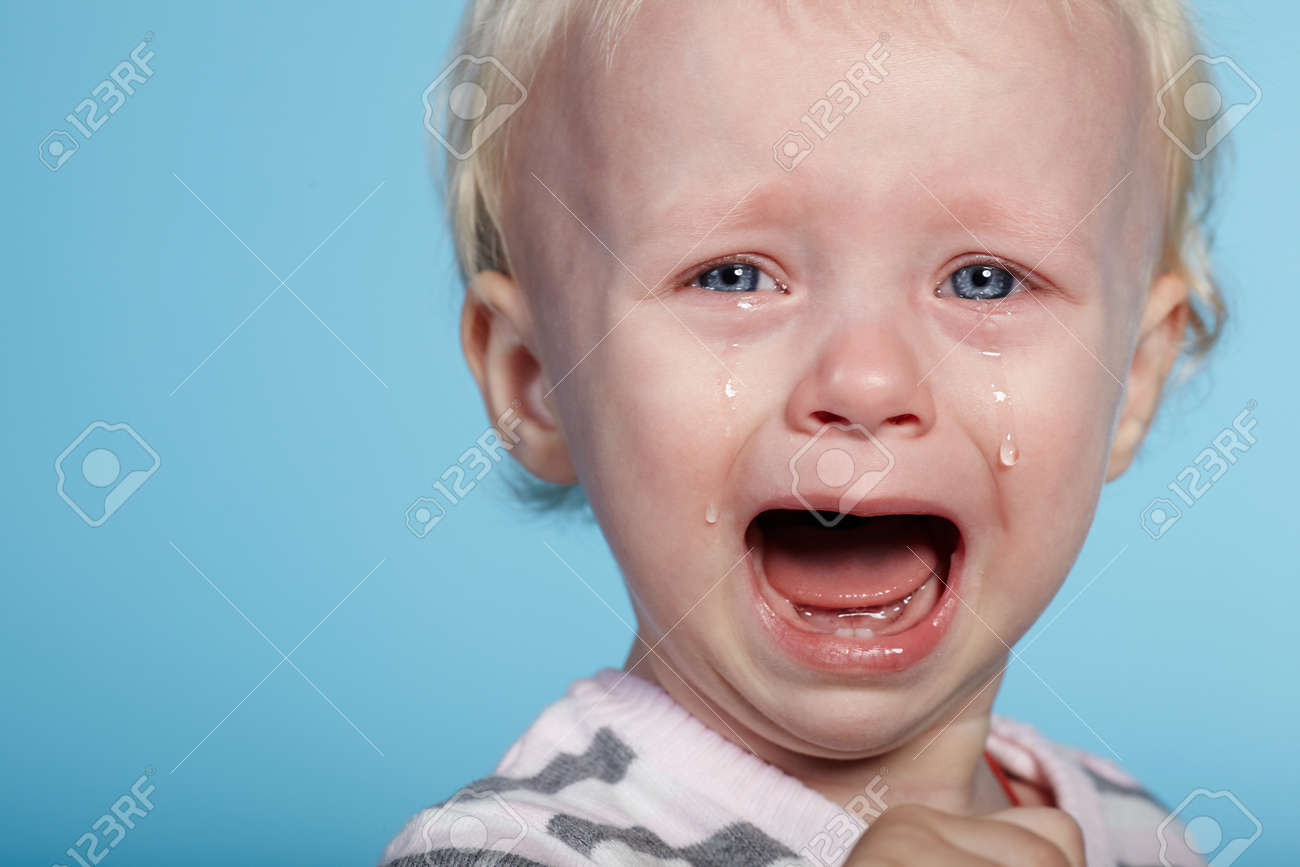 photo of little cute child with tears on face stock photo, picture