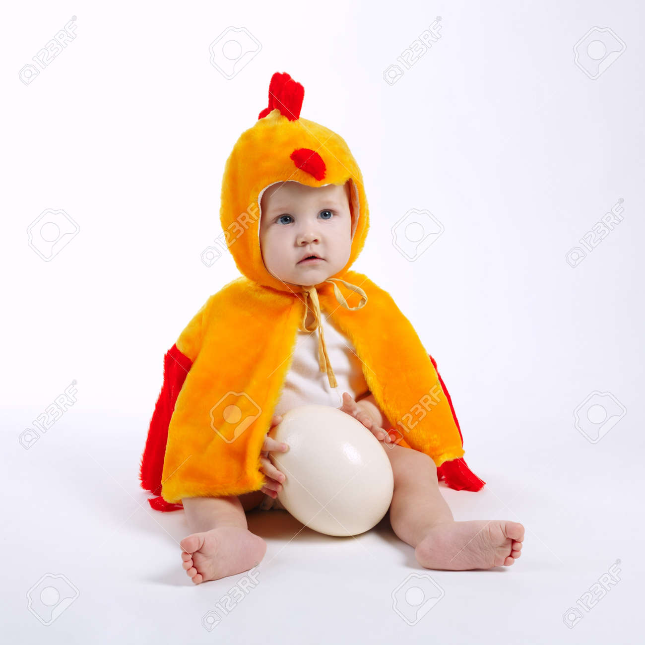 little funny boy in chicken costume on white Stock Photo - 66687094  sc 1 st  123RF.com & Little Funny Boy In Chicken Costume On White Stock Photo Picture ...