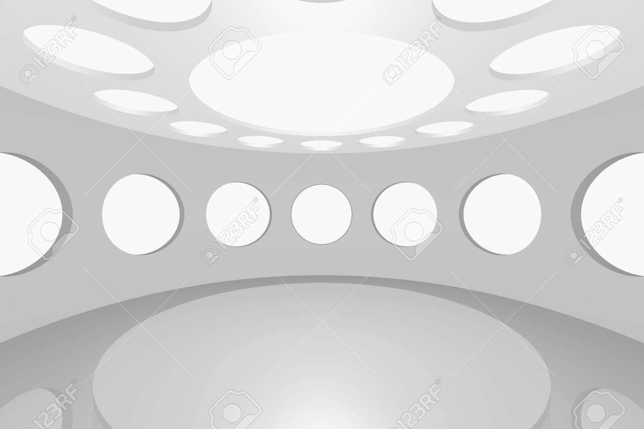 3D visualization of a modern futuristic interior empty space round Stock Photo - 8995079