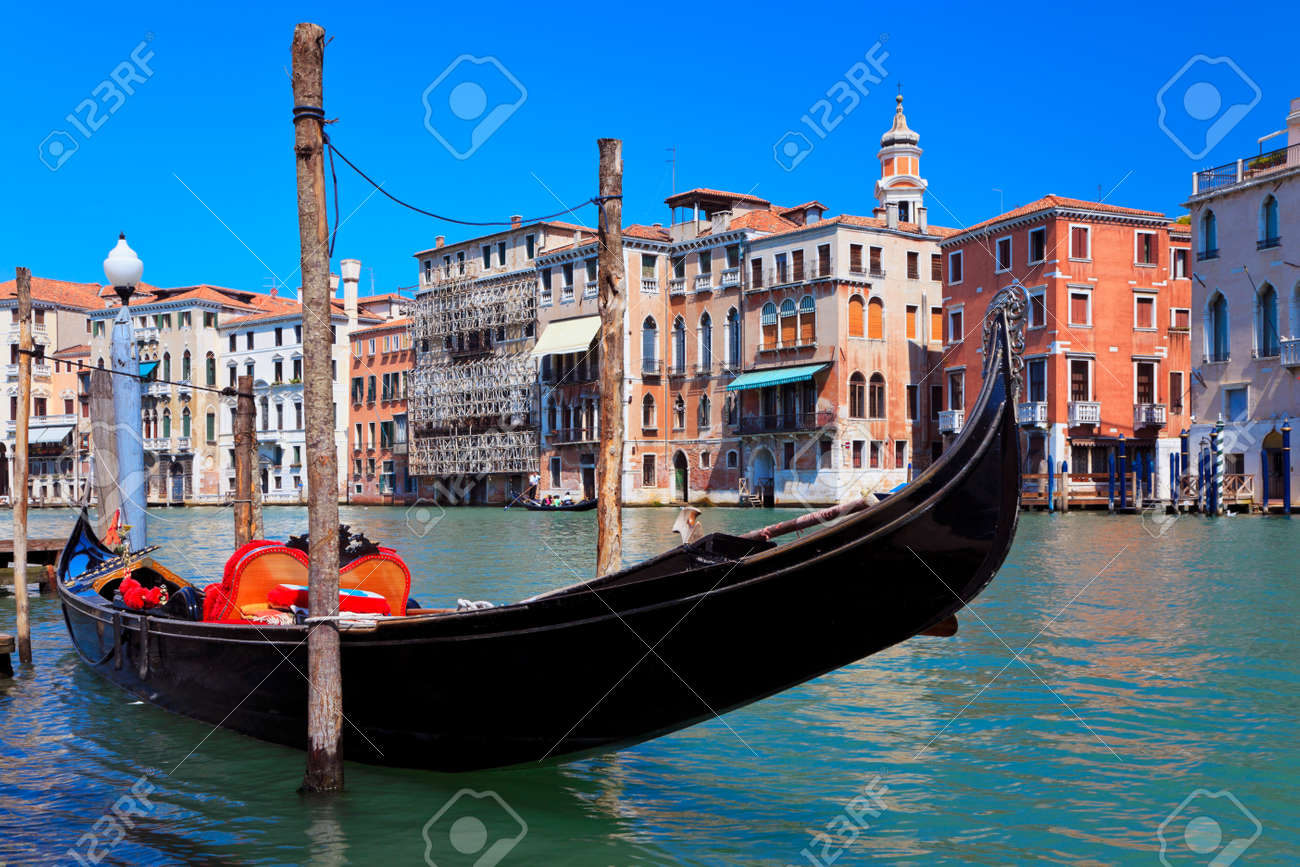 Venetian gondola on the Grand Canal. Venice, Italy. Stock Photo - 22180654