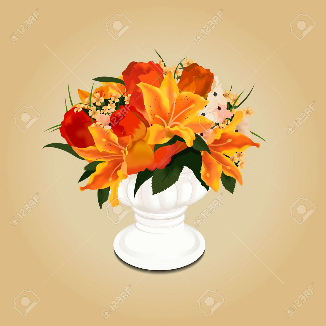Flower Bouquet In Vase Royalty Free Cliparts, Vectors, And Stock ...