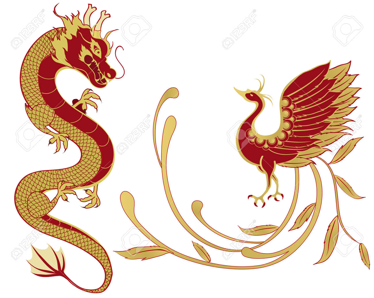 Dragon and phoenix for symbolism in traditional chinese wedding dragon and phoenix for symbolism in traditional chinese wedding and marriages isolated version stock vector buycottarizona Choice Image