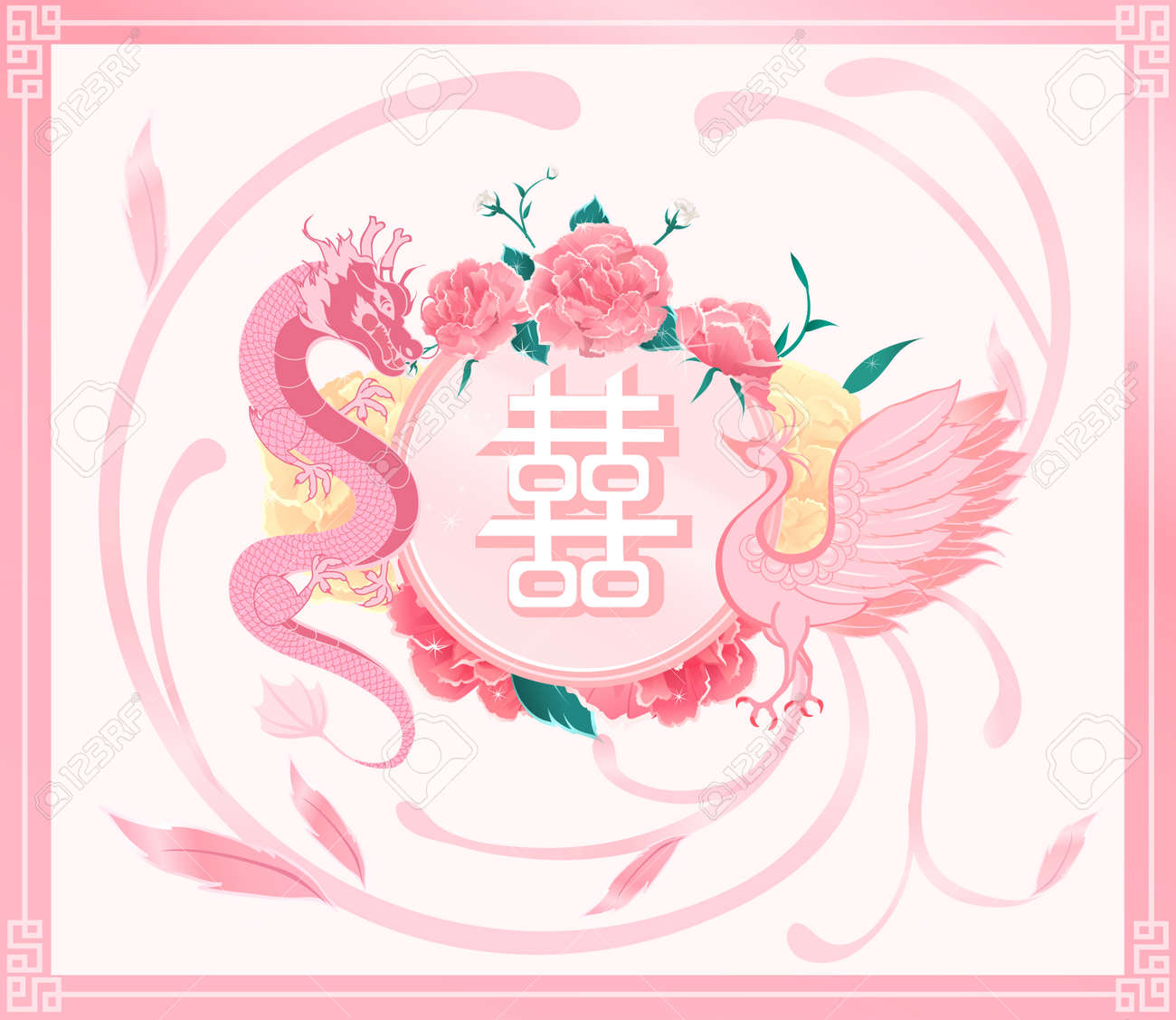 Chinese Wedding Card Invitation,pink Dragon ,phoenix With \