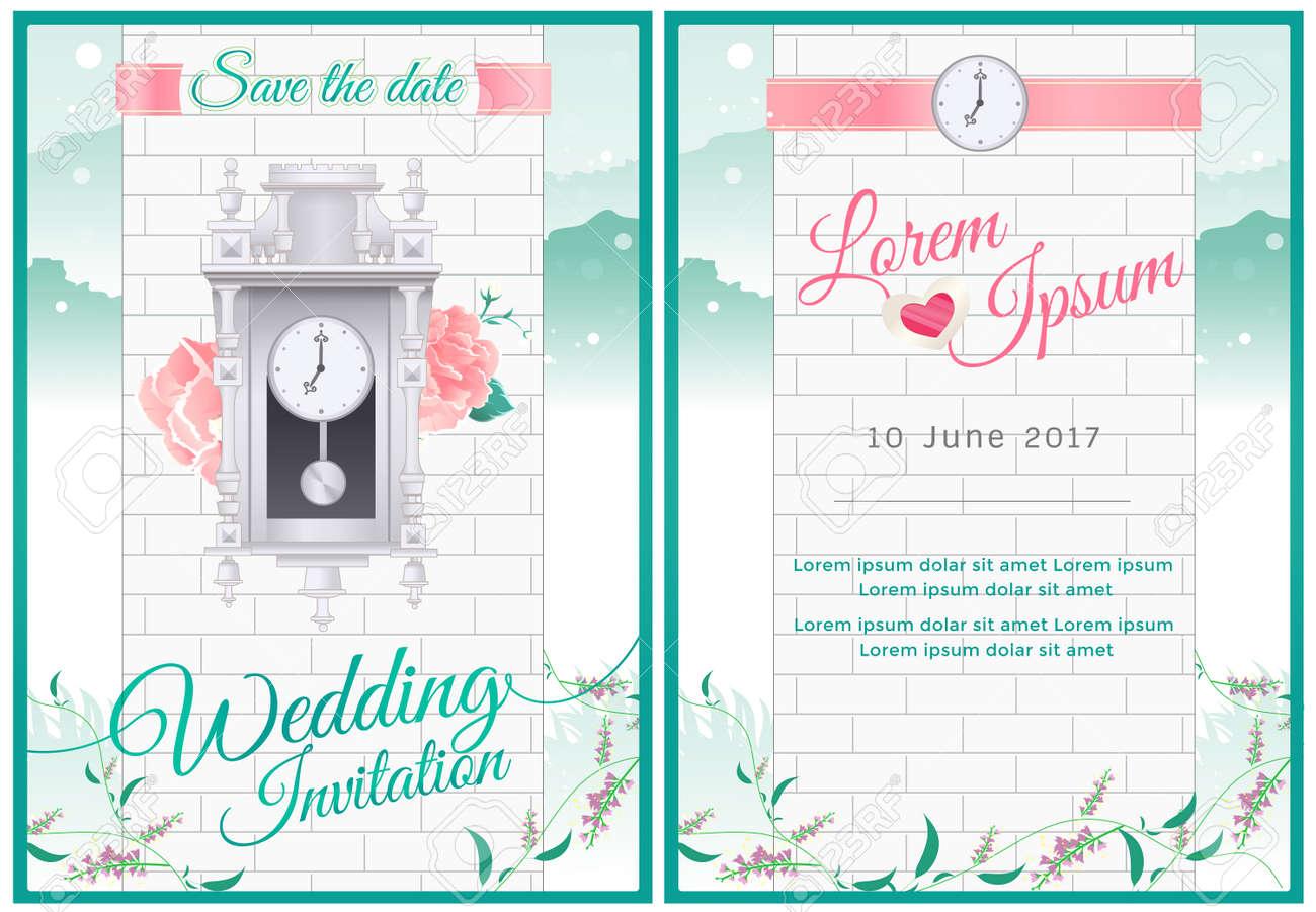 Rund Um Die Uhr Brautdusche Und Hochzeitskarte Einladung Mit Gruner