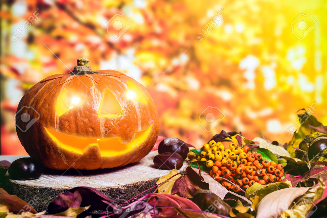 moody scary carved halloween pumpkin with colorful leaves and