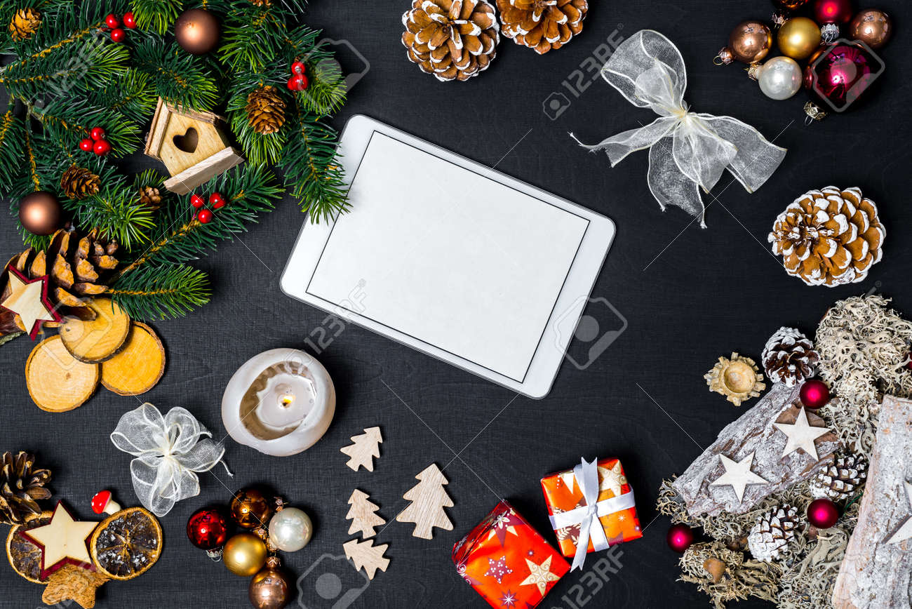 Christmas Decoration And White Tablet With Copy Space For Happy New ...