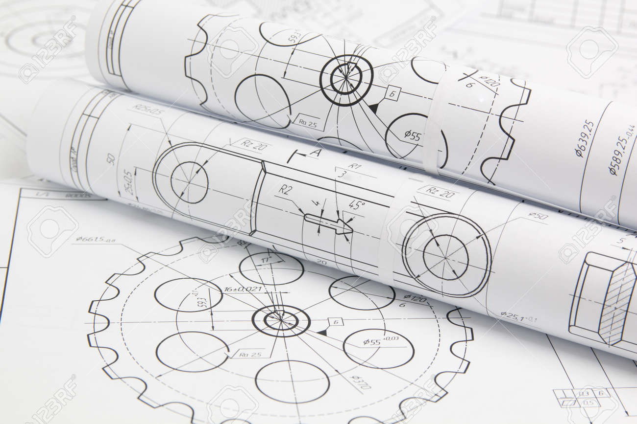 rolls paper engineering drawings of mechanisms and machine - 132440992