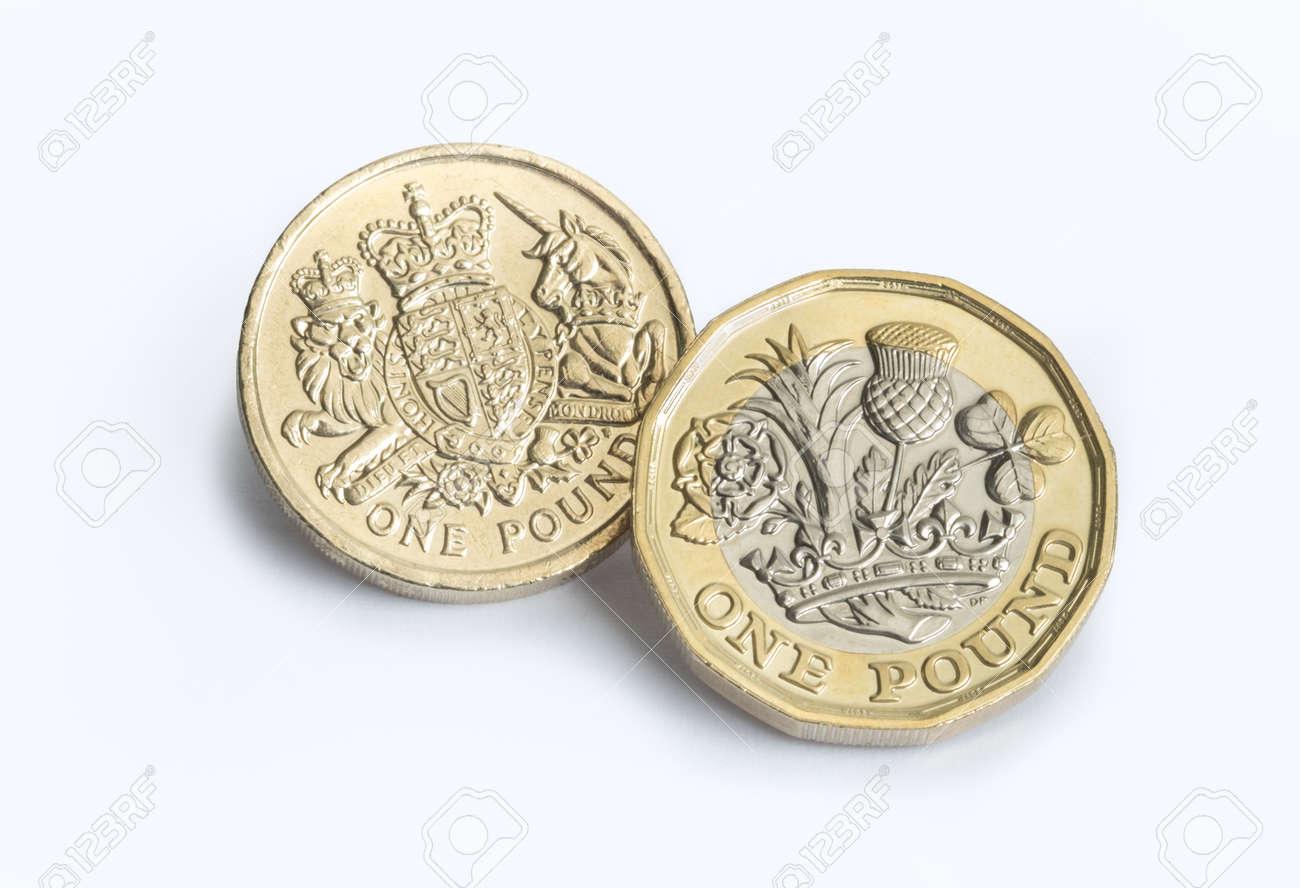 Neue Britische Pfund Münze Mit Altem Design Lizenzfreie Fotos