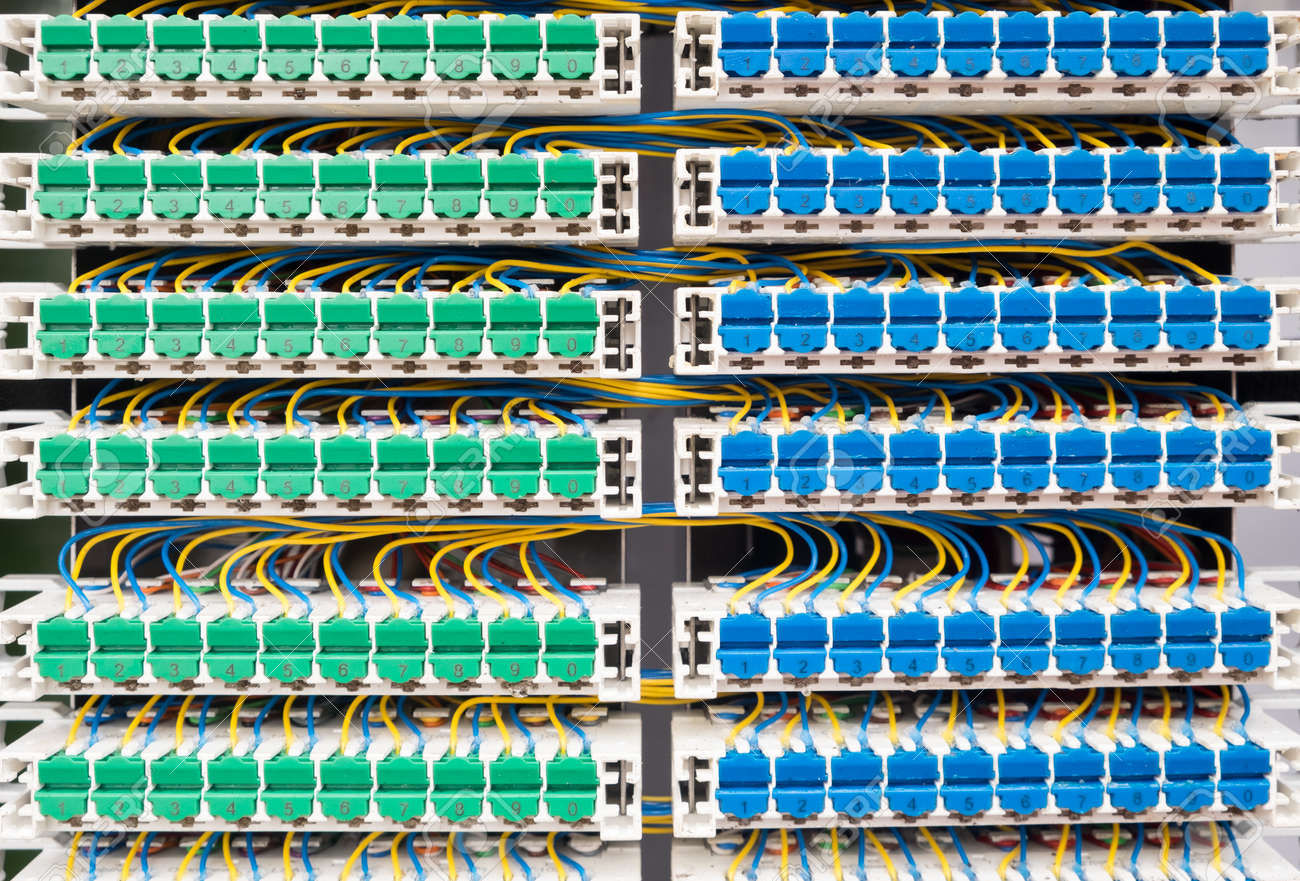 Broadband landline routing equipment, color coded neat wiring. on