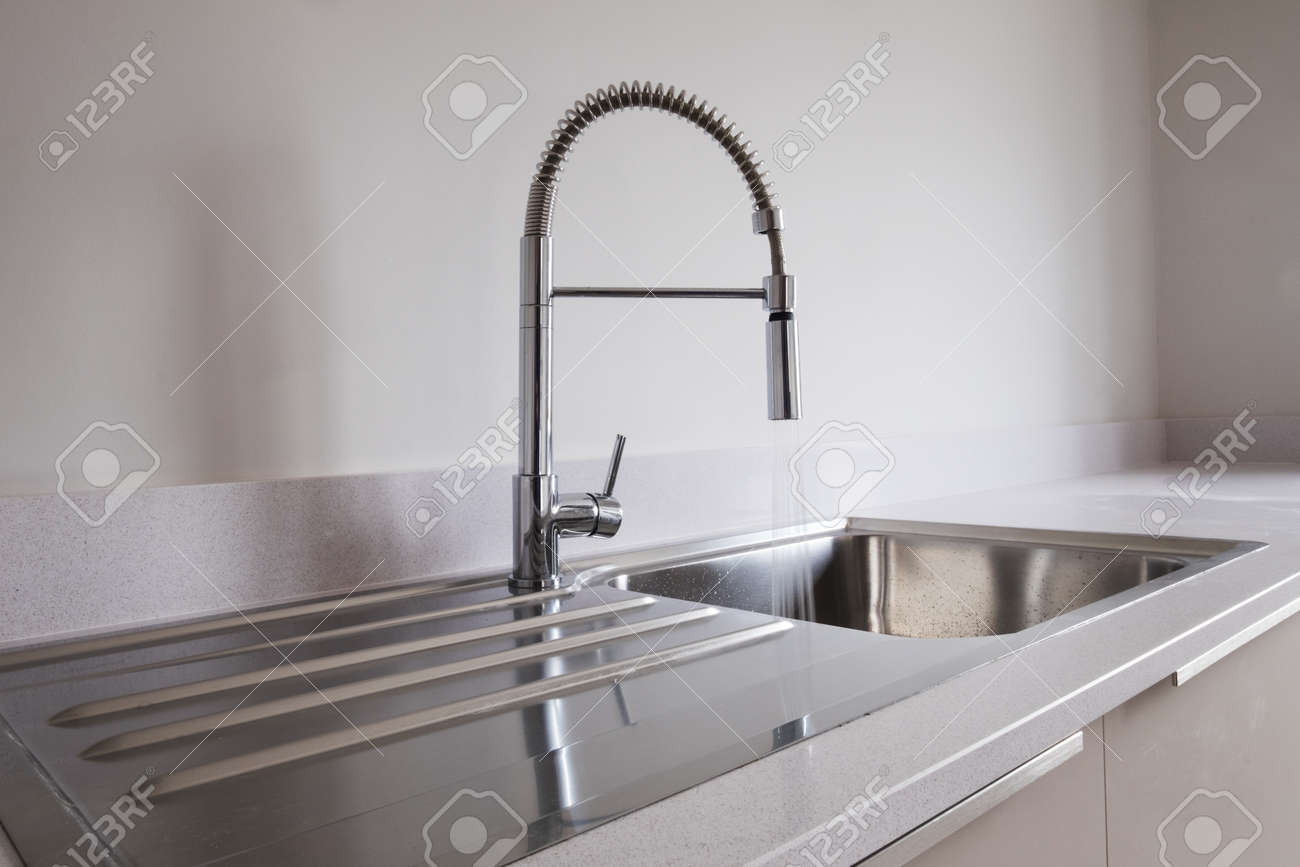 Kitchen Sink With Modern Tap And Running Water Stock Photo Picture And Royalty Free Image Image 87903210