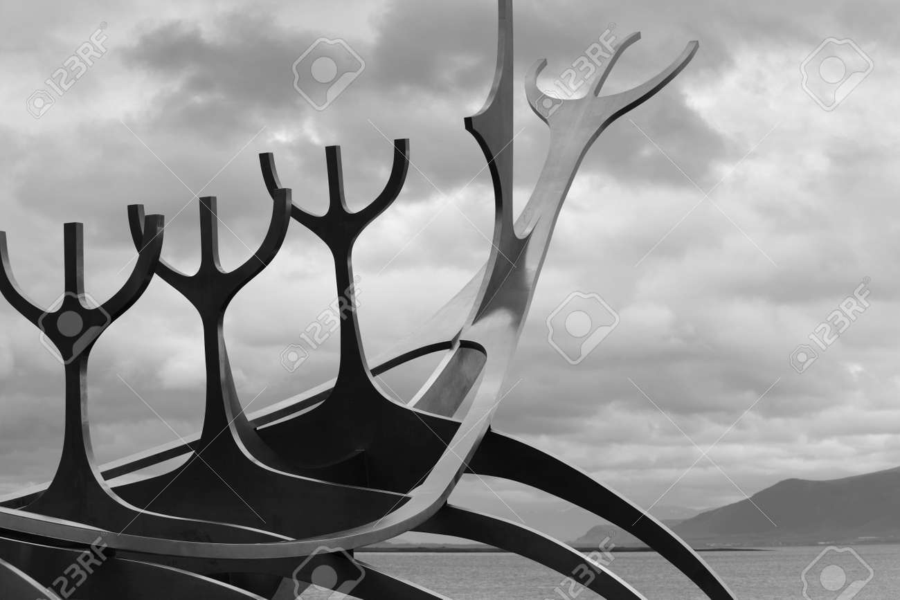 Sun Craft Metalic Sculpture against cloudy sky black and white Stock Photo - 25085155