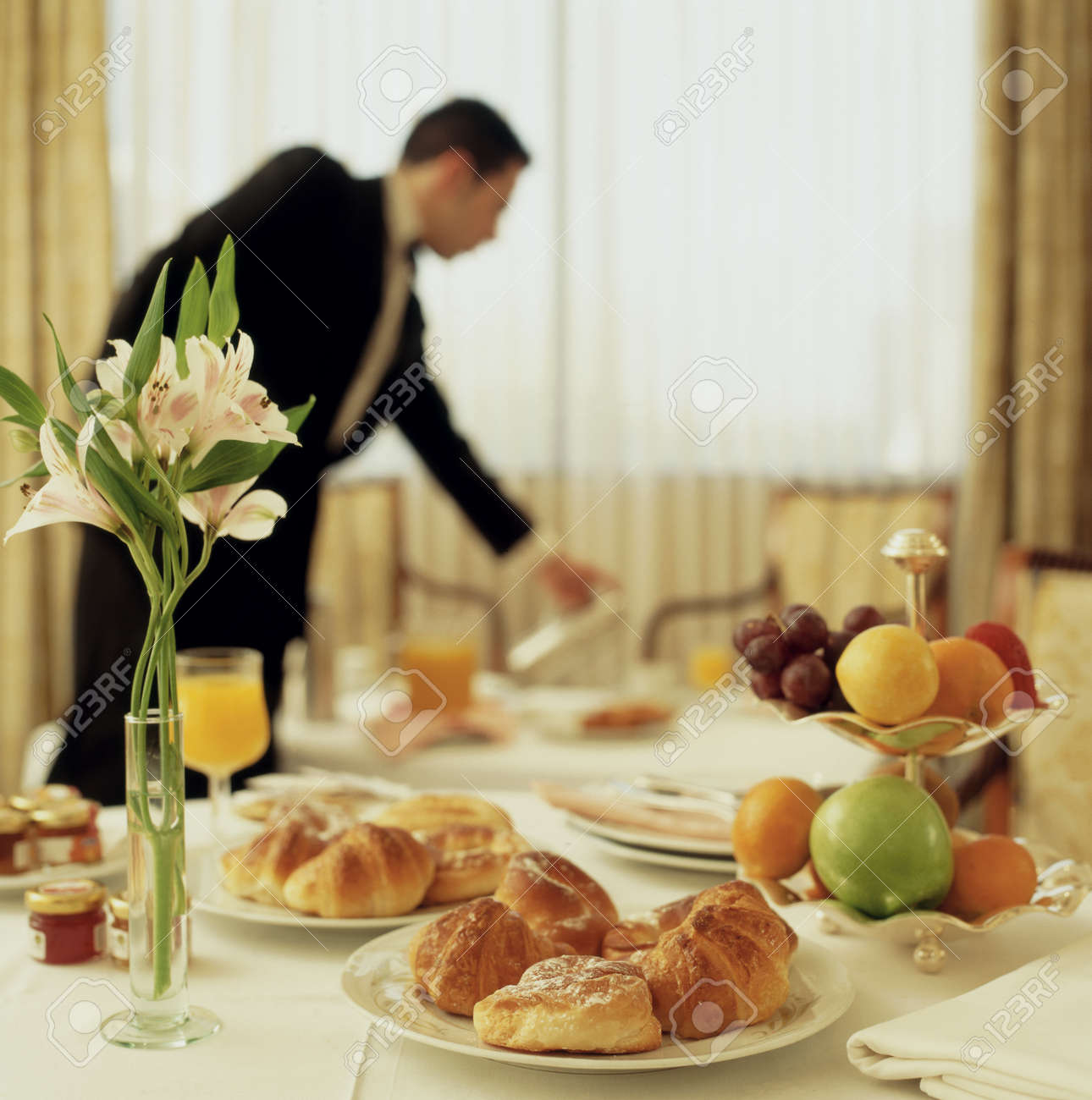 Big Hotel Room Service Continental Breakfast With Waitress Out ...