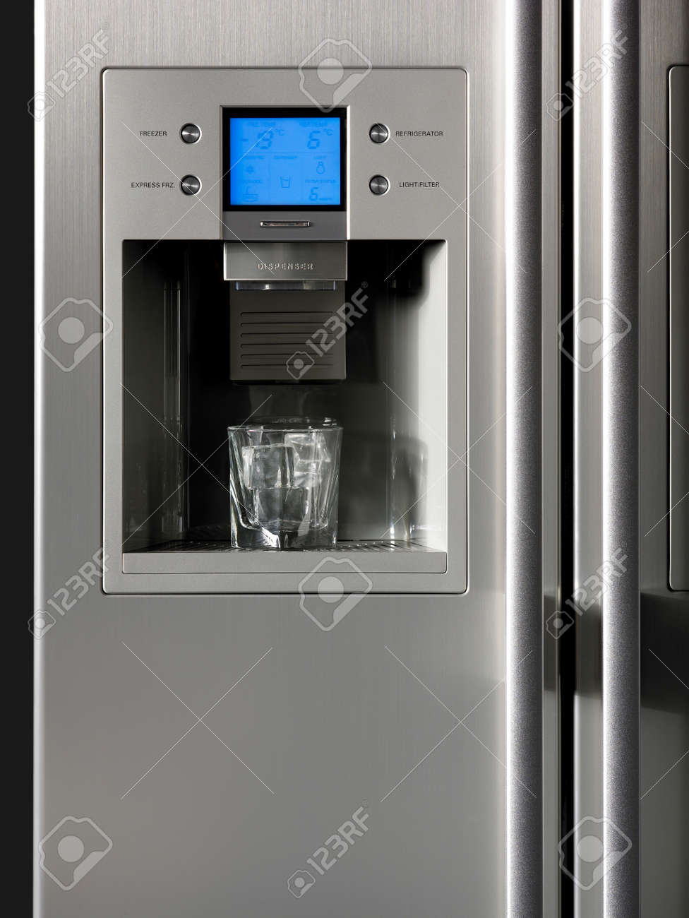 Fridge Detail With Ice Dispenser And Glass Vertical Stock Photo ...