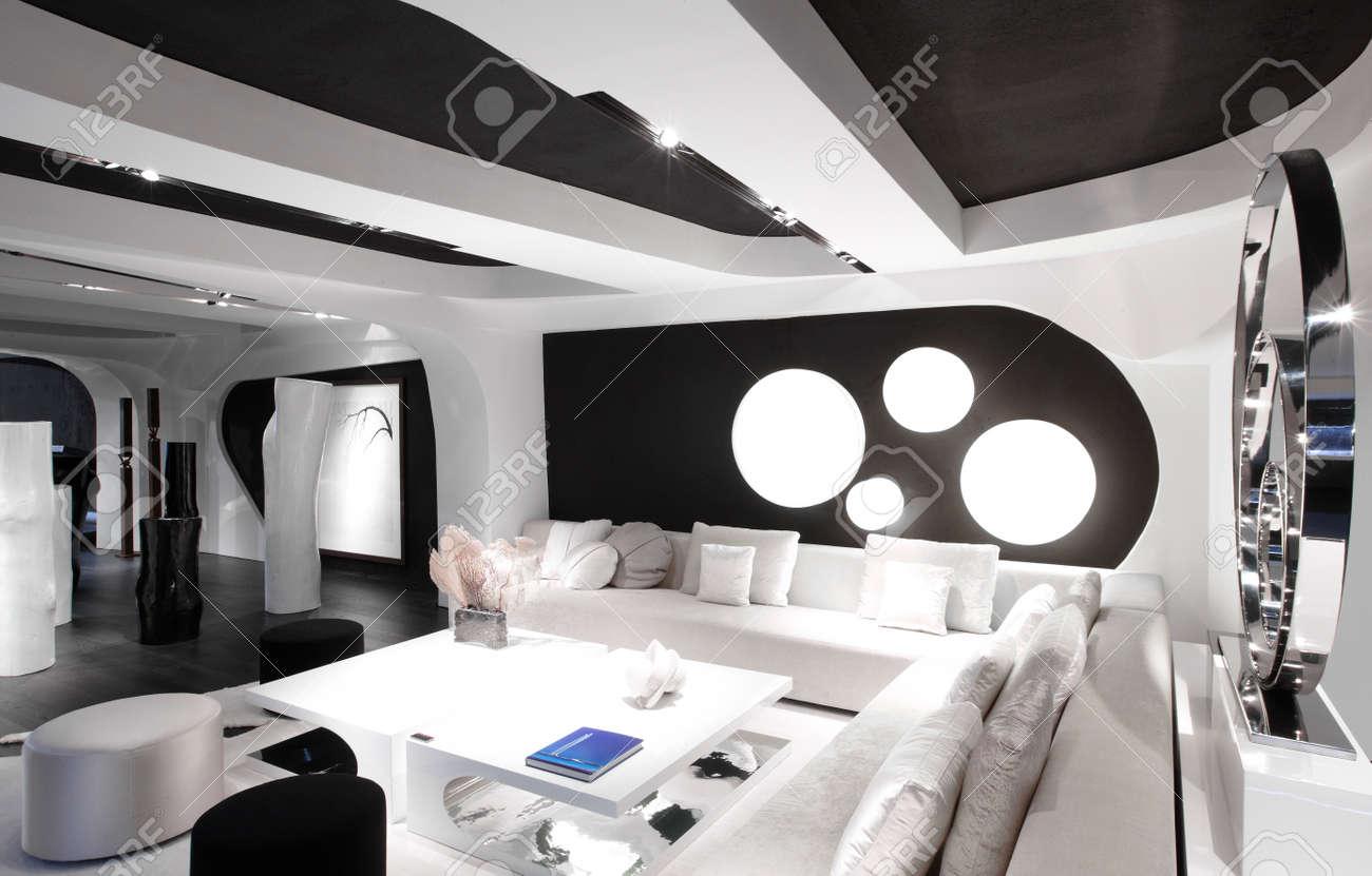 Banque Du0027images   Intérieur De La Chambre Moderne En Noir Et Blanc Couleurs  Horizontal