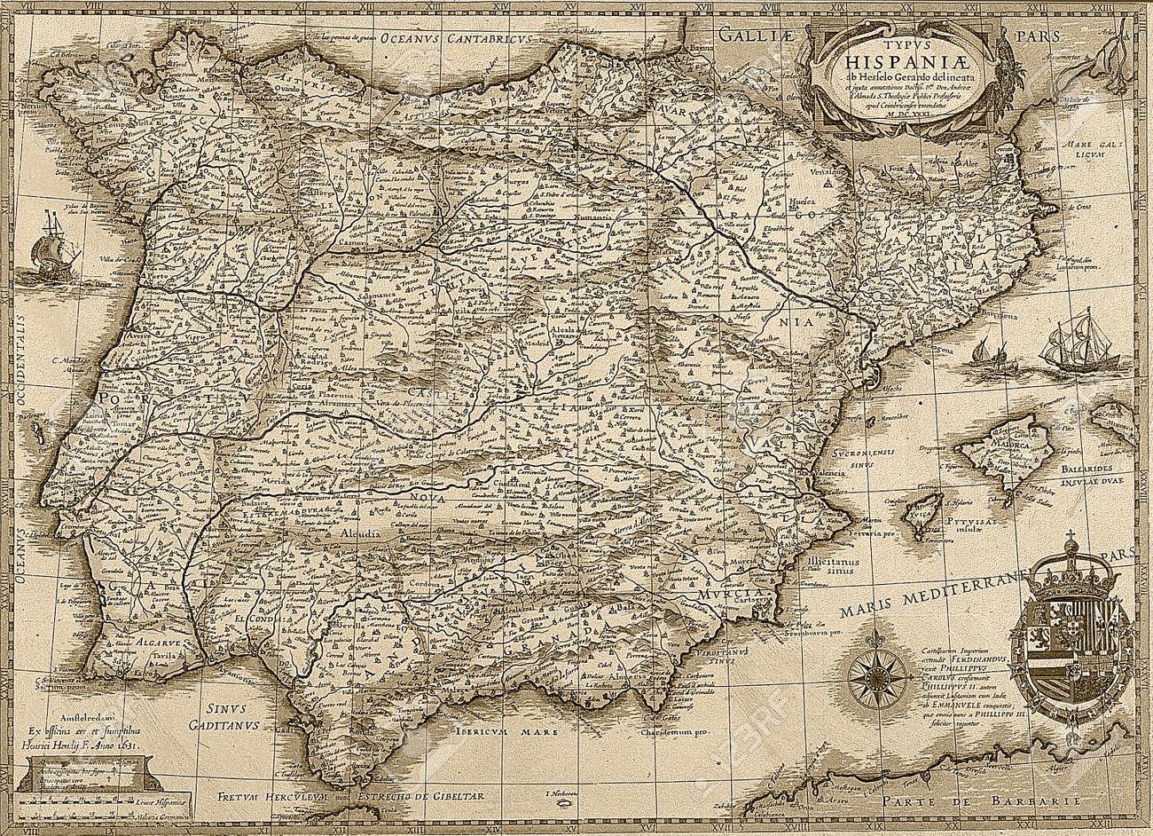 Cartina Spagna Antica.Immagini Stock Antico Spagna E Potugal Mappa In Tonalita Seppia Vista Orizzontale Image 28435281