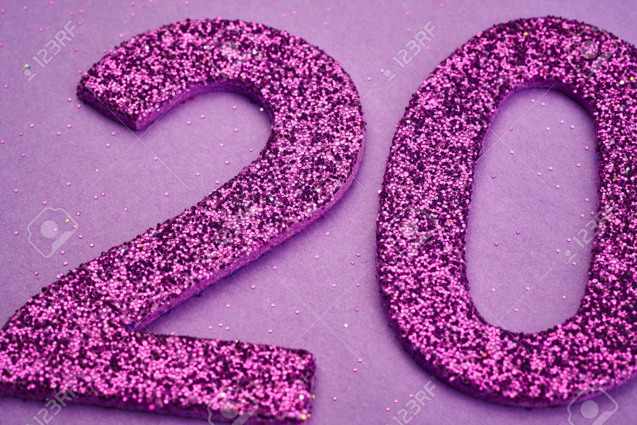 Number twenty purple color over a purple background. Anniversary. Horizontal - 55161520