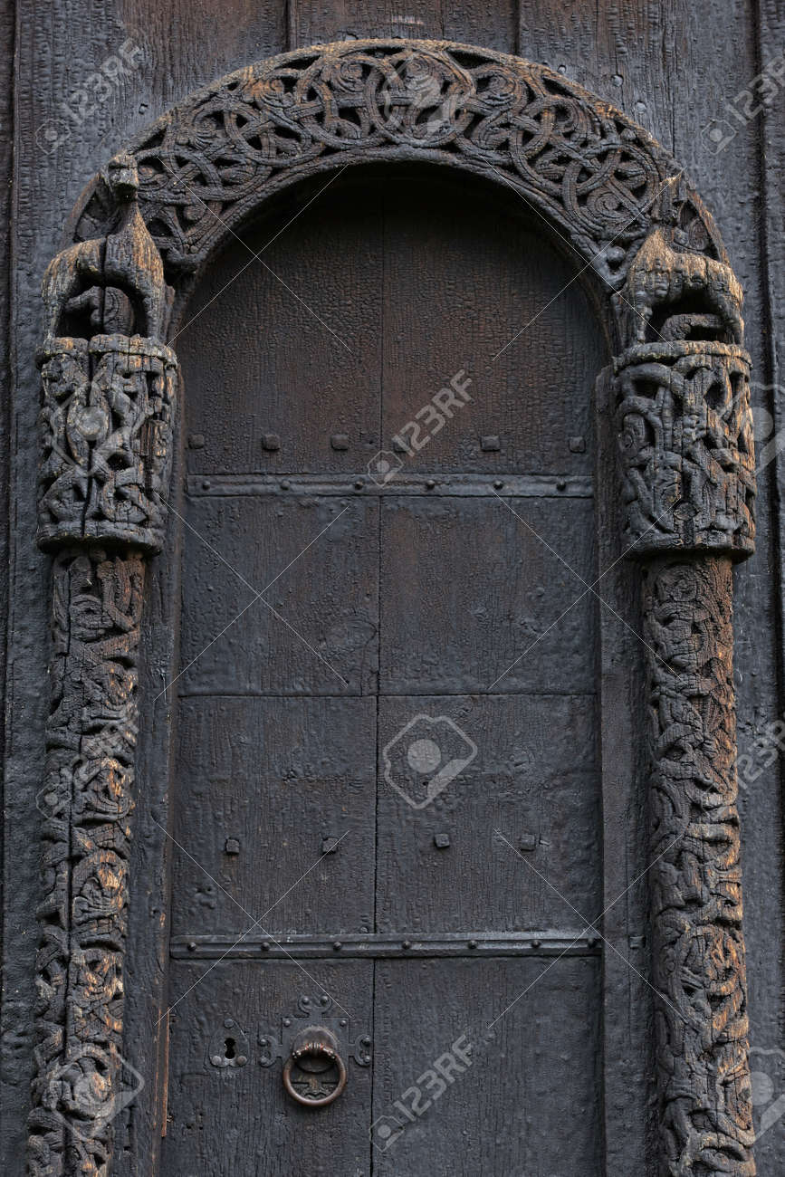 Lom medieval stave church door detail. Viking symbol. Norway tourism Stock Photo - 84330658 & Lom Medieval Stave Church Door Detail. Viking Symbol. Norway.. Stock ...