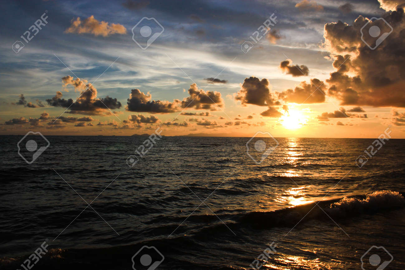 Beautiful Sunset on the beach in the evening. Trat Thailand. Stock Photo - 13422986