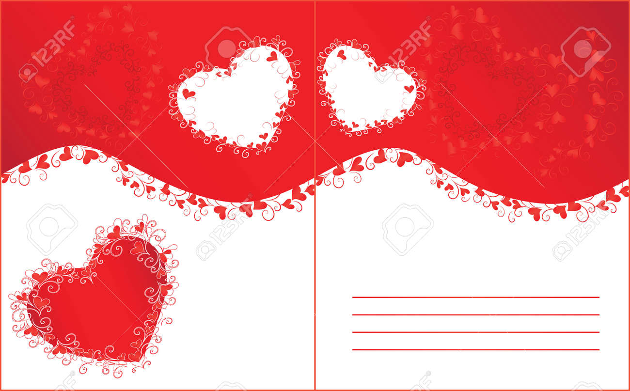 Wedding Invitation With Red Hearts And Curls Royalty Free Cliparts ...