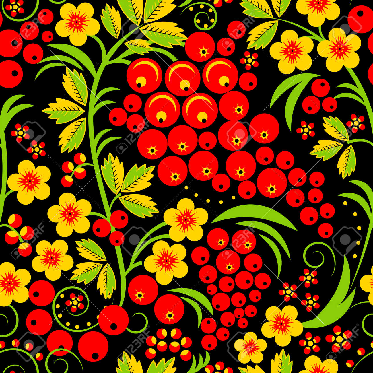 15487668-Style-traditionnel-Hohloma-russe-seamless-pattern-Vector-illustration--Banque-d'images