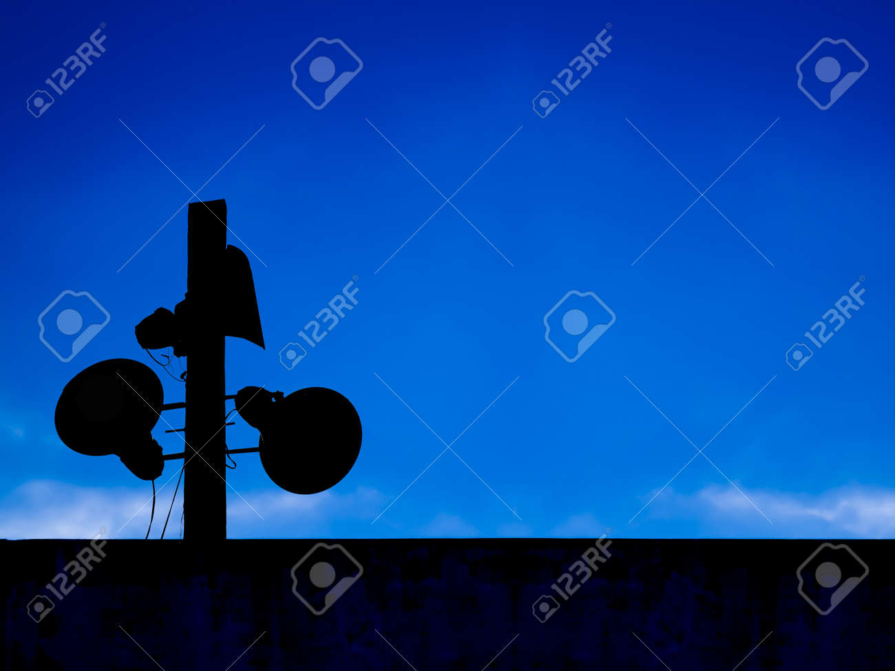 loudspeakers   in blue sky Stock Photo - 12785884