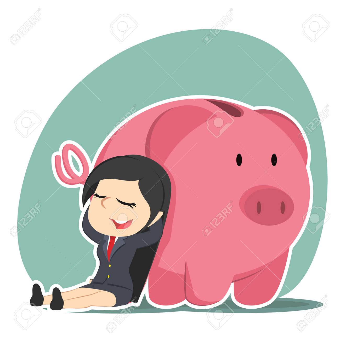 businesswoman relaxing beside piggy bank royalty free cliparts
