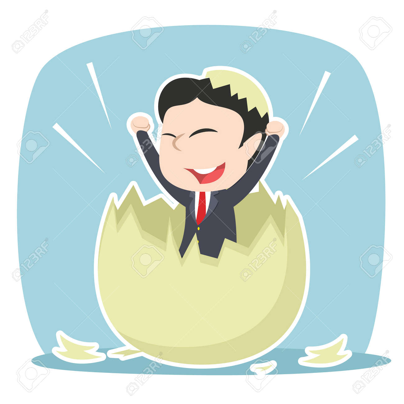 asian businessman hatched from egg - 90081999