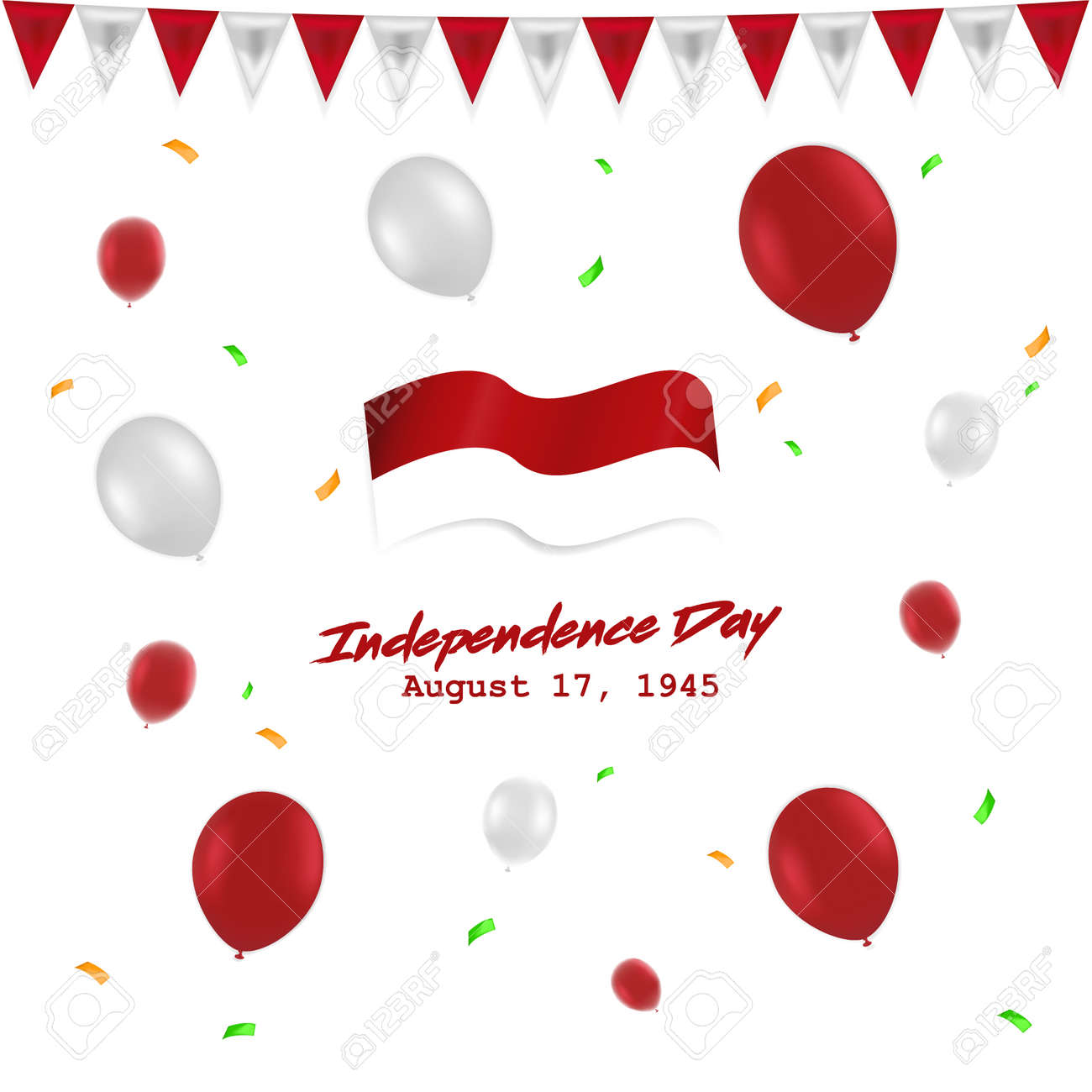 Independece day 17 August Indonesia with red white baloon, flag , and ribbon - 106866372