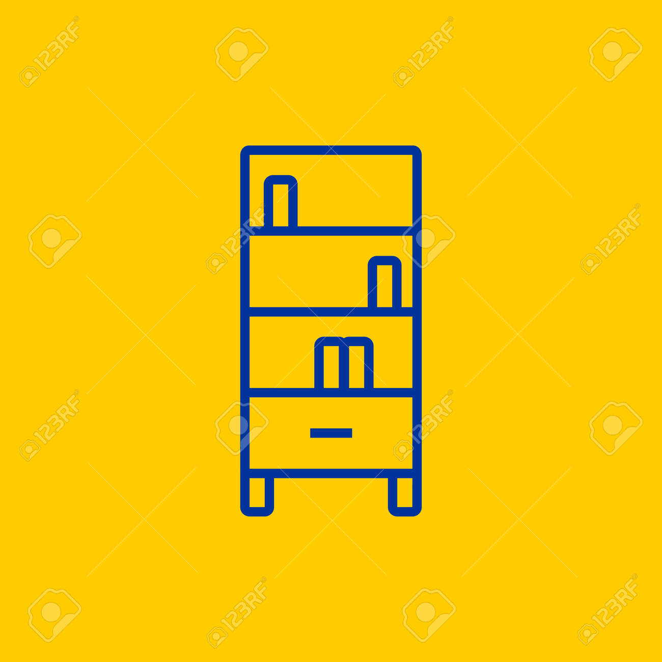 Bookcase Or Bookshelf Cabinet Blue Line Icon On Yellow Background