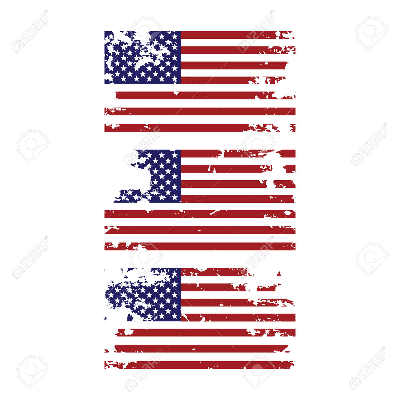 Grunge torn united states of america american flag icon design element for 4th of july independence day set - 119708745