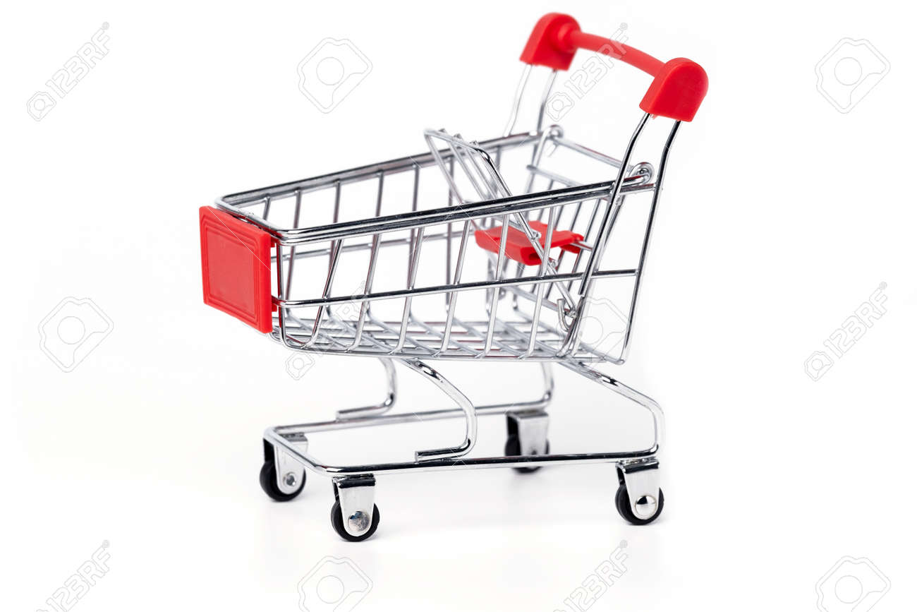 Empty trolley cart on a white background. Shopping, sale, finance and business concept. - 147374676
