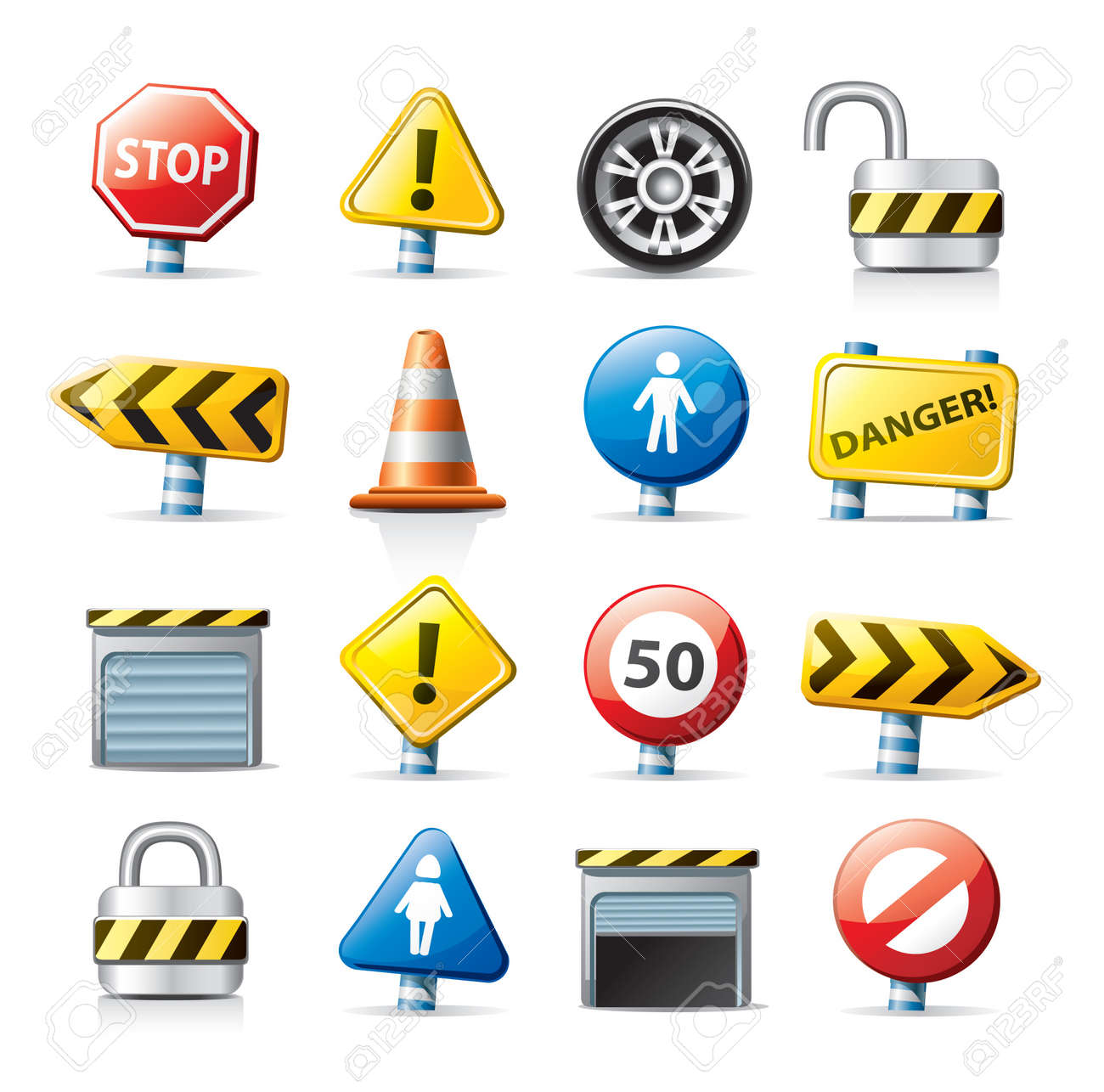 web icons - traffic signs Stock Vector - 9855327