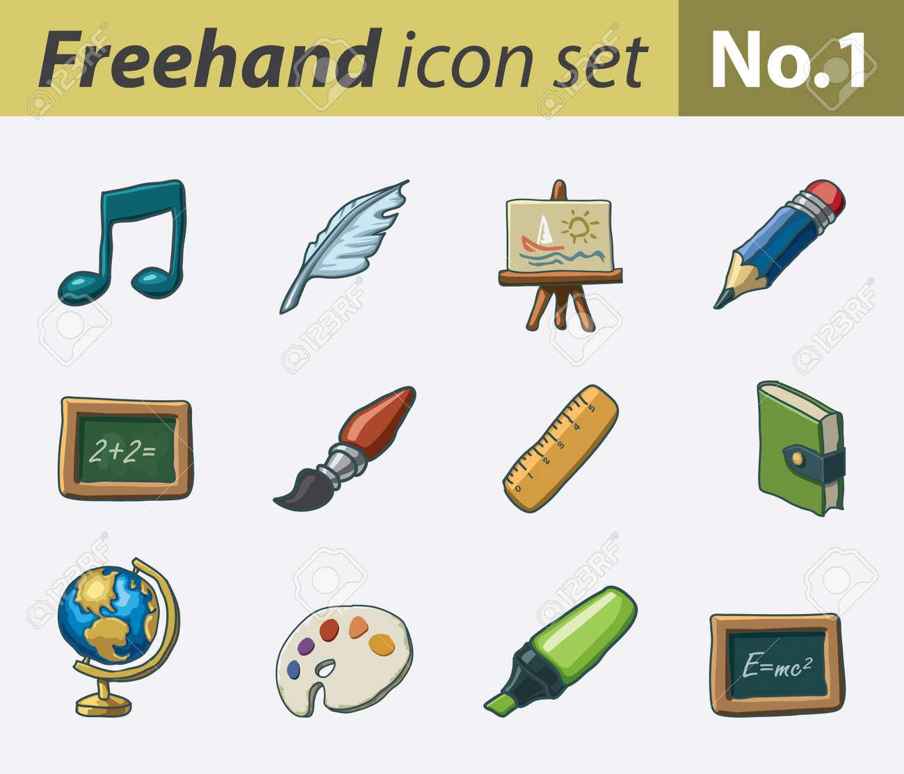 freehand icon set - school Stock Vector - 9811313