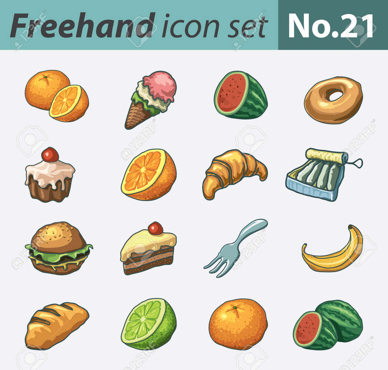 freehand icon set - food Stock Vector - 9855188