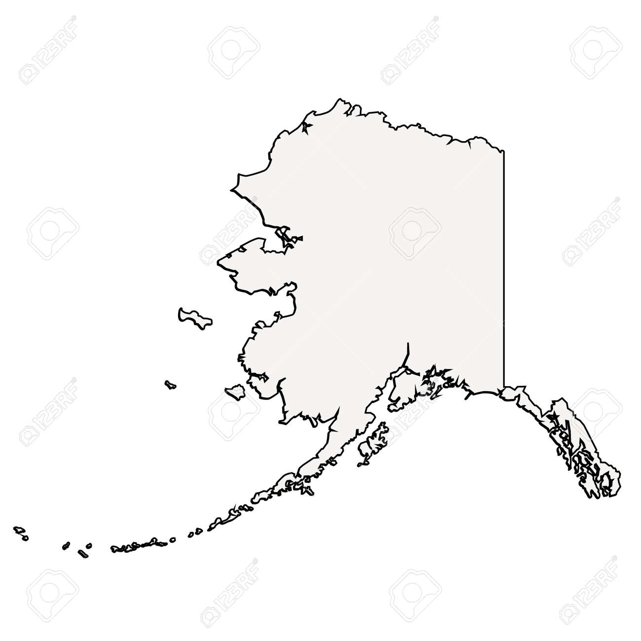 Alaska Usa Outline Vector Map Royalty Free Cliparts Vectors And
