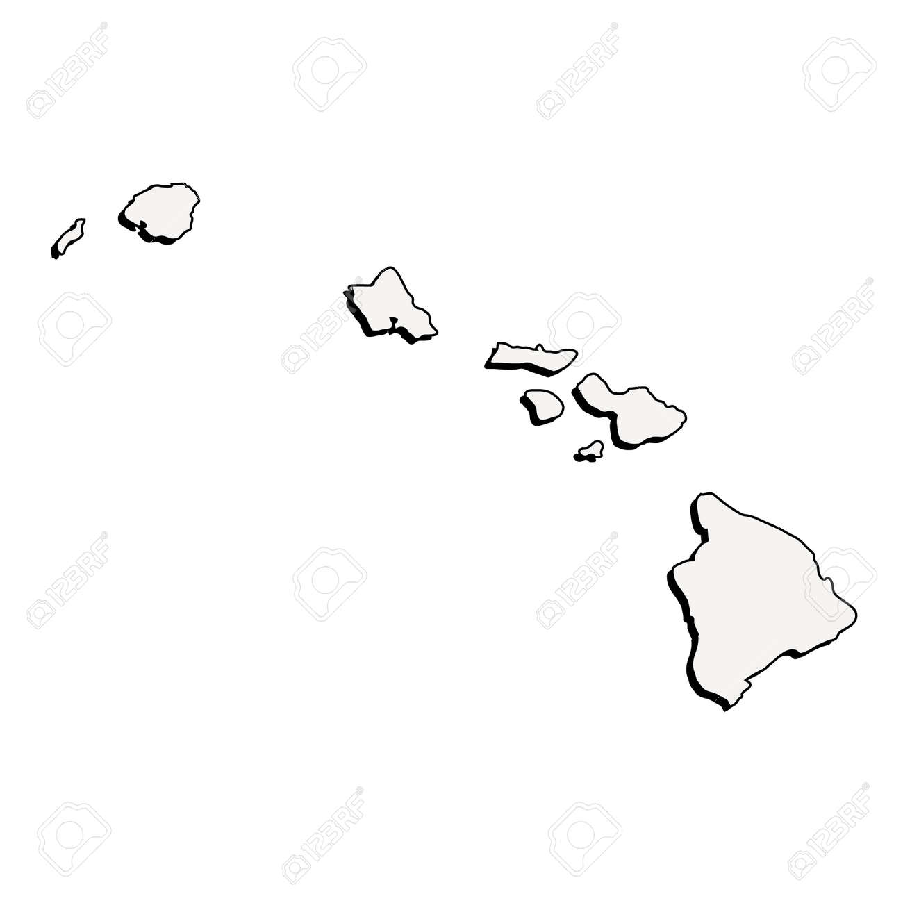 Hawaii (USA) detailed outline map with shadow