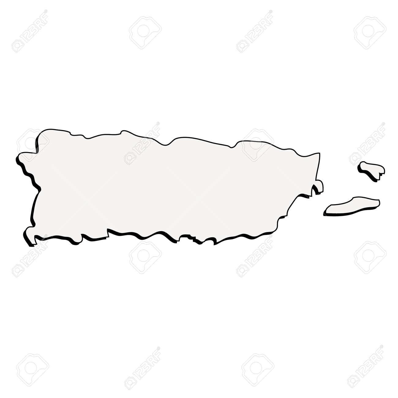 Puerto Rico 3d Outline Map