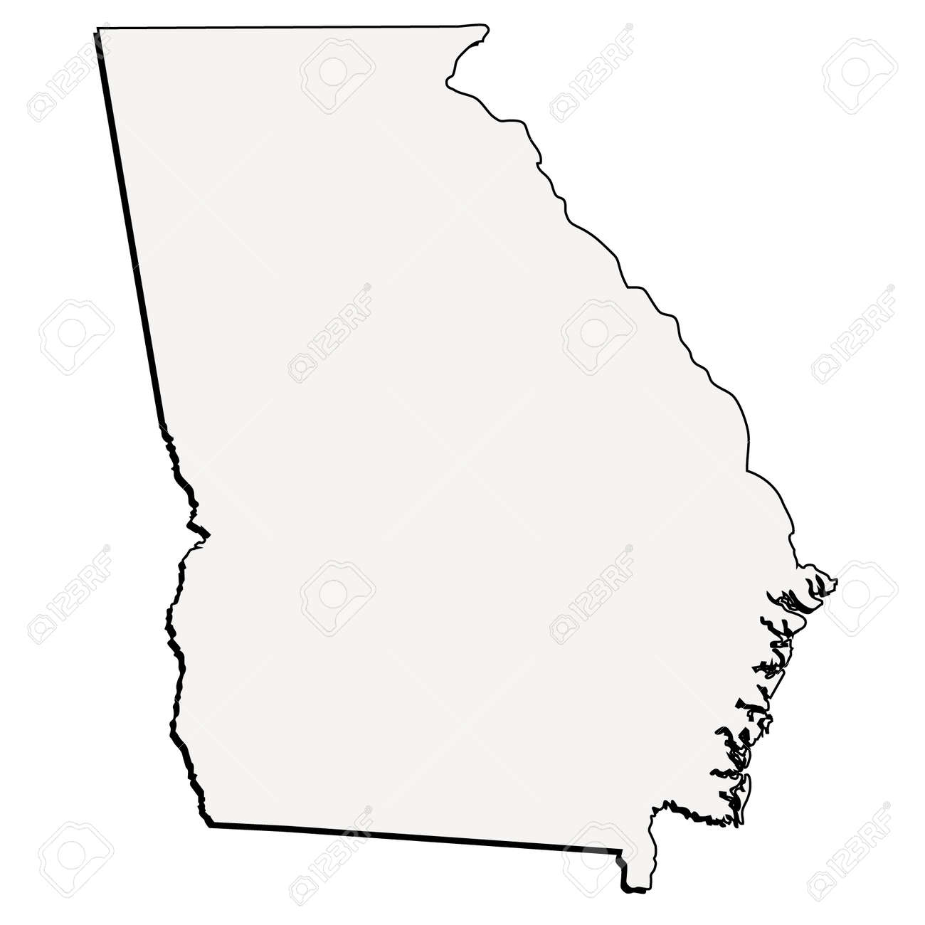 Outline Of Georgia Map.Vector Georgia State 3d Outline Map