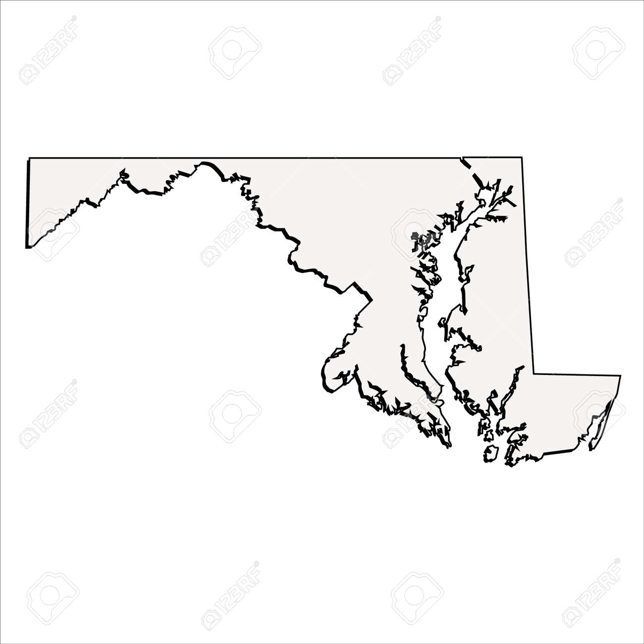 vector maryland state 3d outline map royalty free cliparts vectors