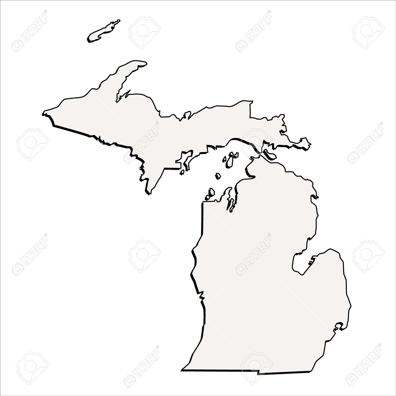 Vector Michigan State D Outline Map Royalty Free Cliparts - Michigan state map