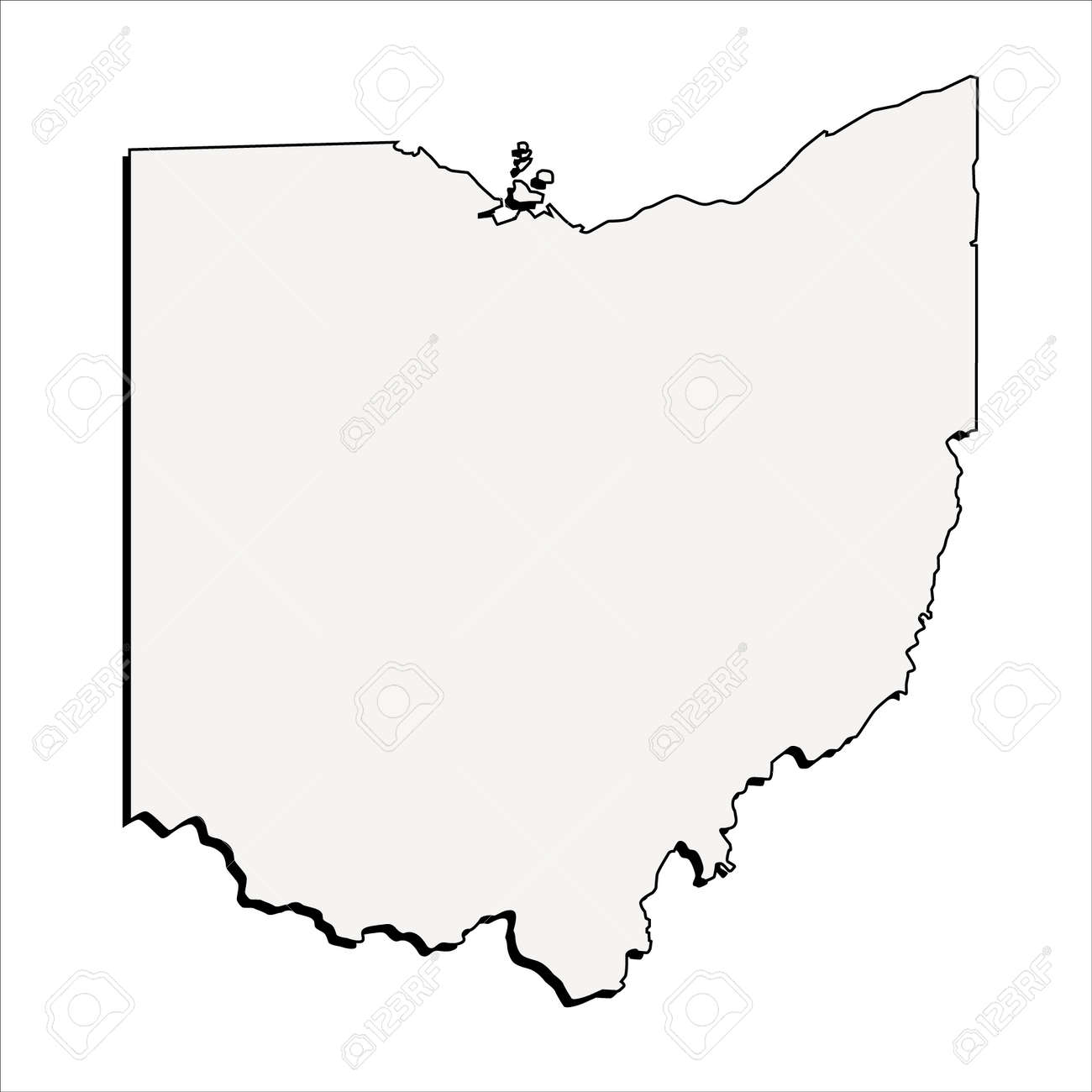 Outline Map Of Ohio.Vector Ohio State 3d Outline Map Royalty Free Cliparts Vectors And
