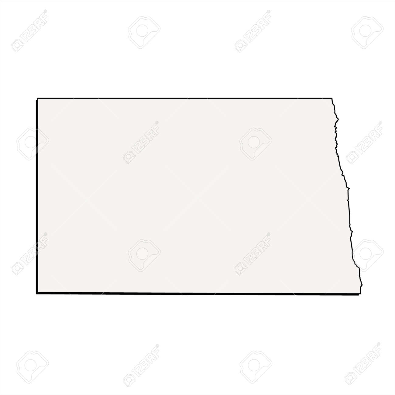 Vector North Dakota State 3D Outline Map Royalty Free Cliparts ...