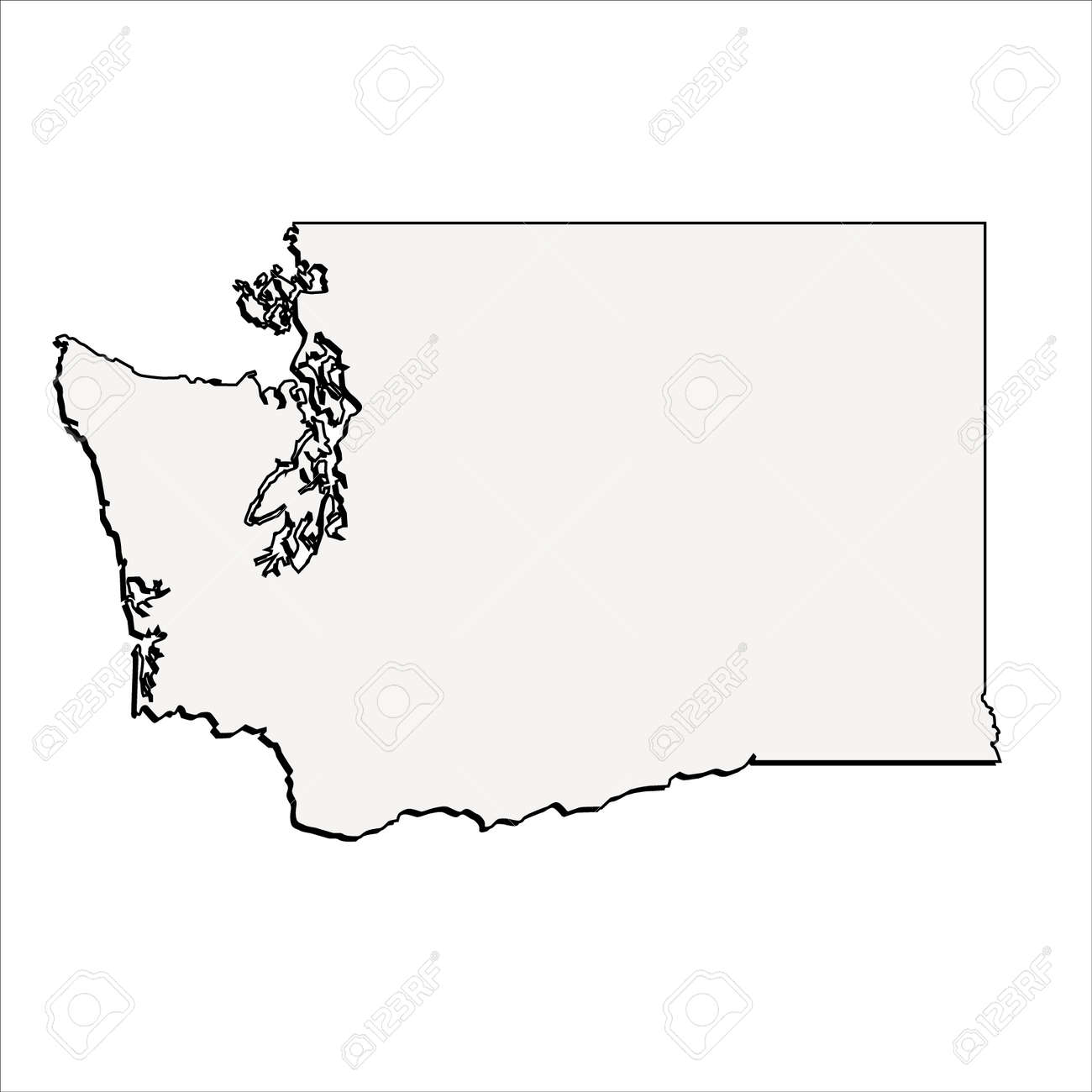 vector washington state 3d outline map royalty free cliparts