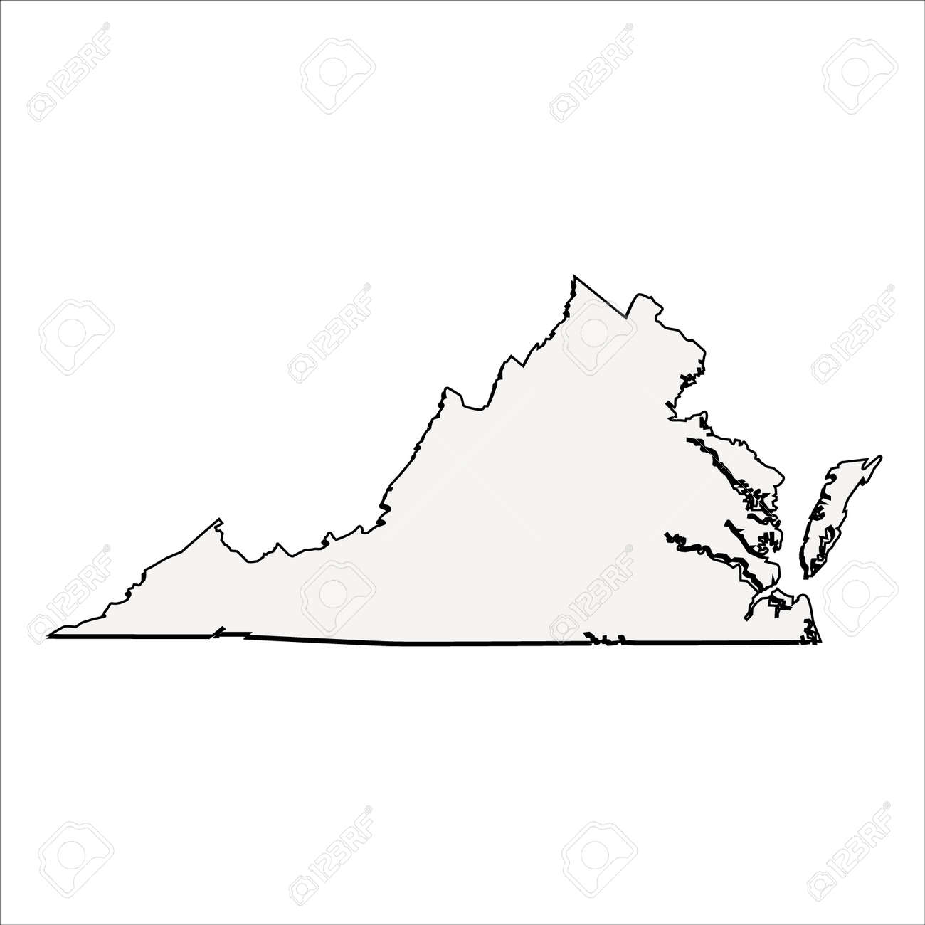 Outline Map Of Virginia.Vector Virginia State 3d Outline Map Royalty Free Cliparts Vectors