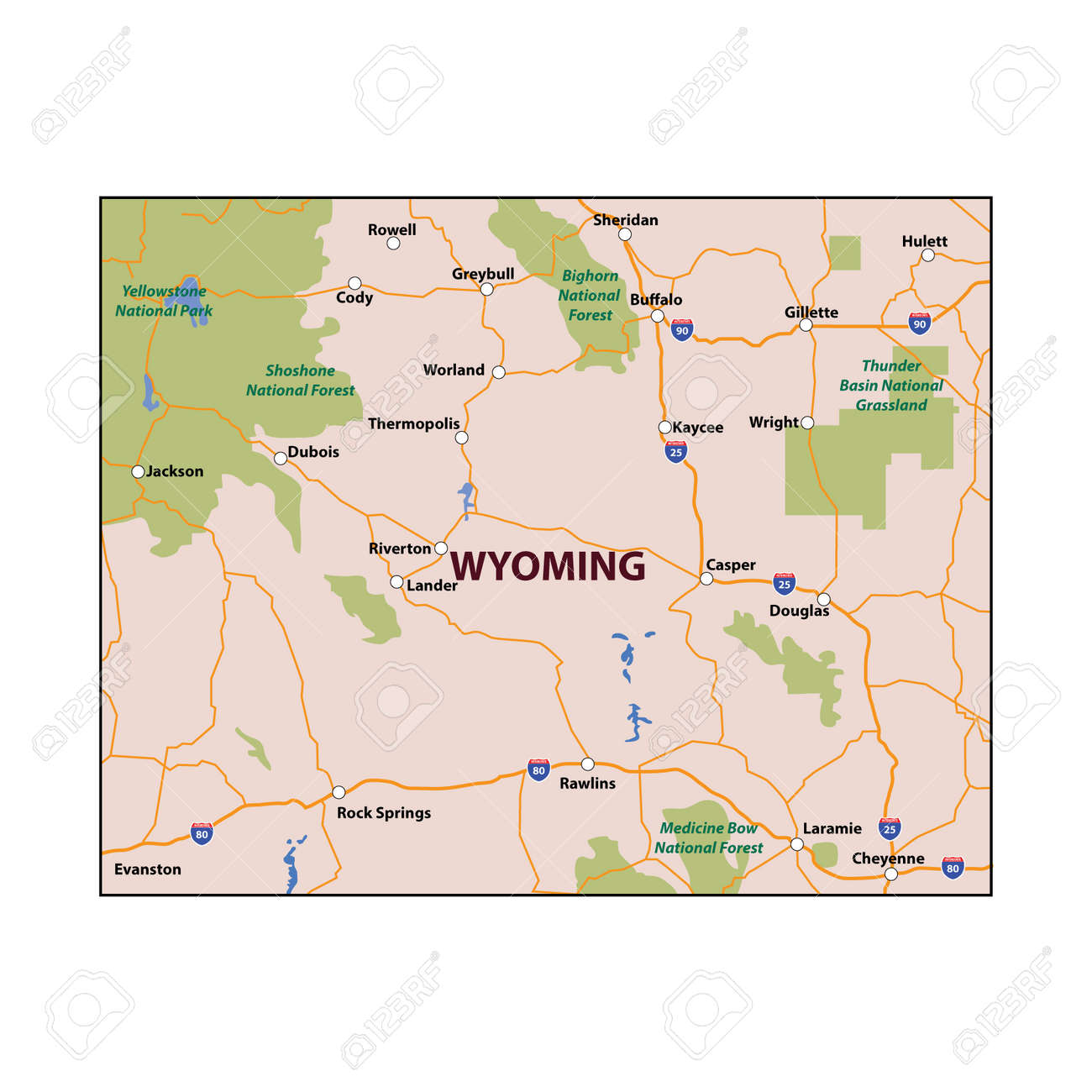 Wyoming State Colour Map Royalty Free Cliparts, Vectors, And Stock ...
