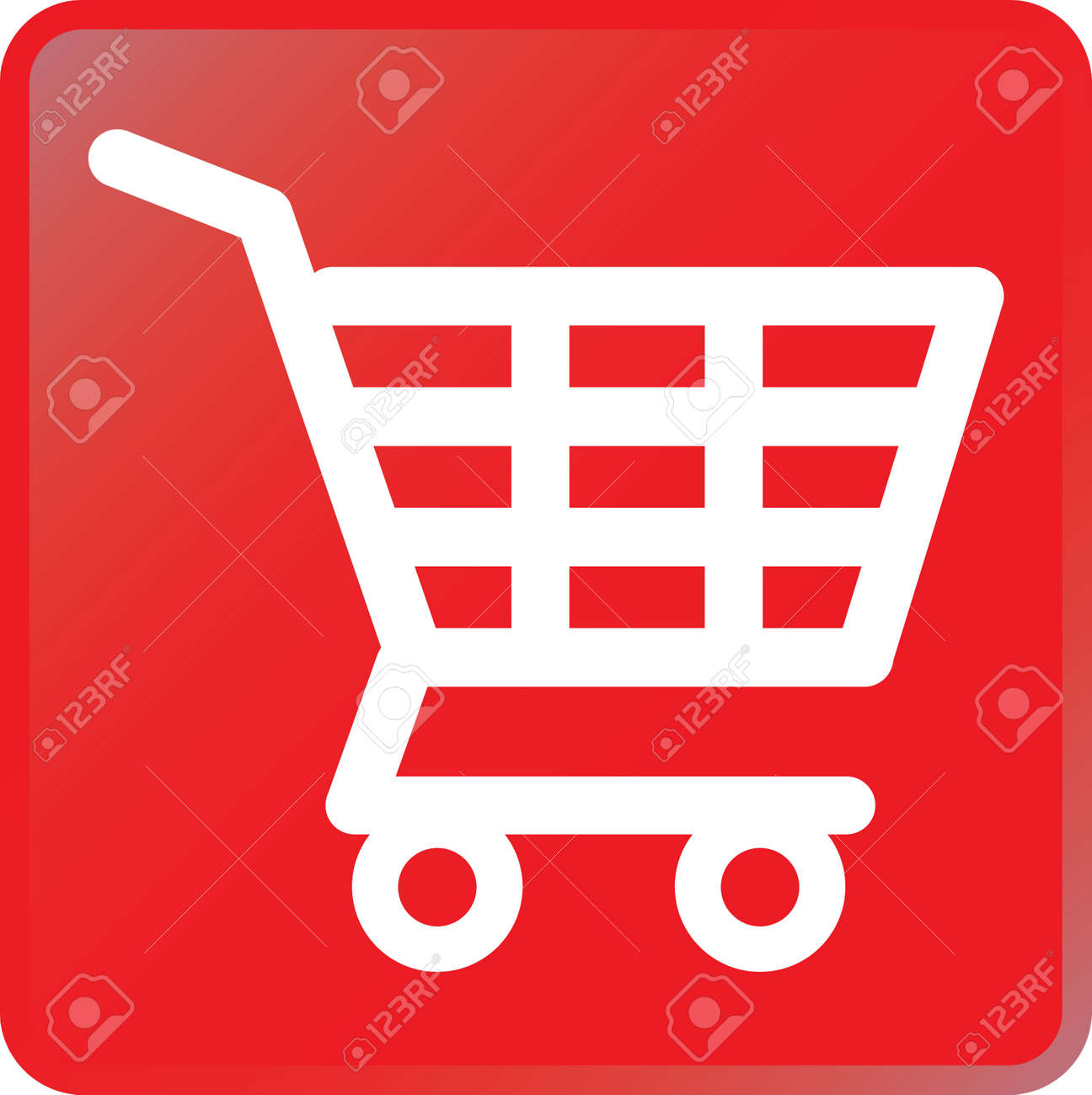 vector shopping cart icon white on red royalty free cliparts