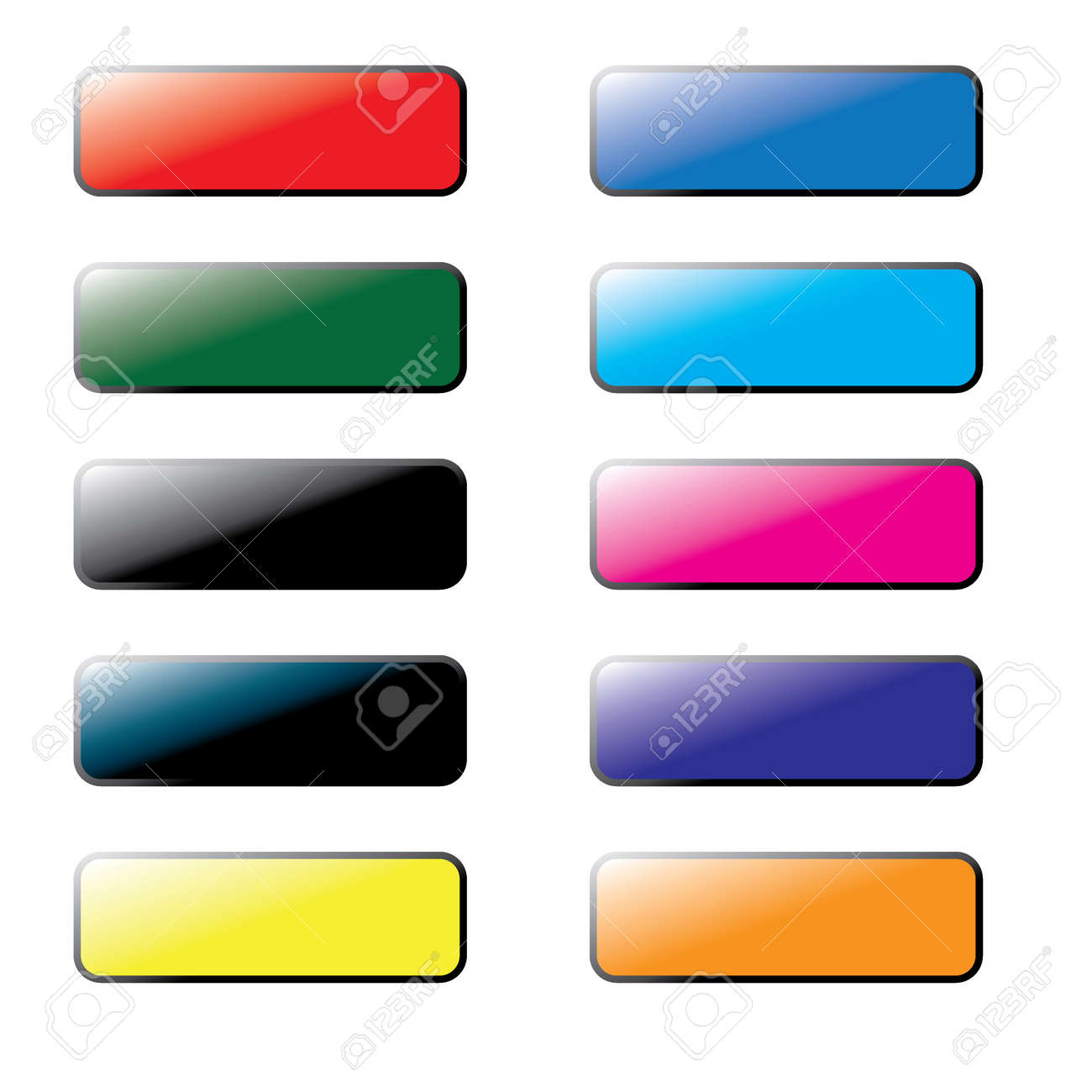 Collection of Coloured Blank Website Buttons