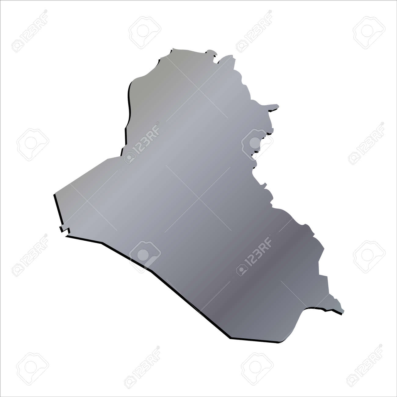 3D Iraq Aluminium Outline Map With Shadow Royalty Free Cliparts