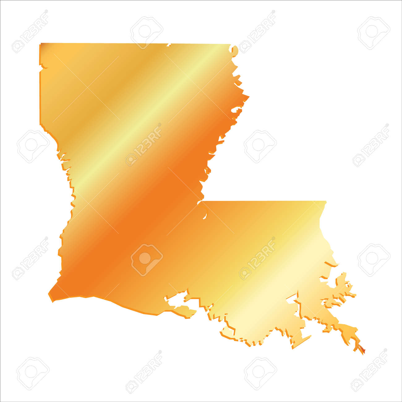 D Louisiana USA Gold Outline Map With Shadow Royalty Free - Louisiana in usa map