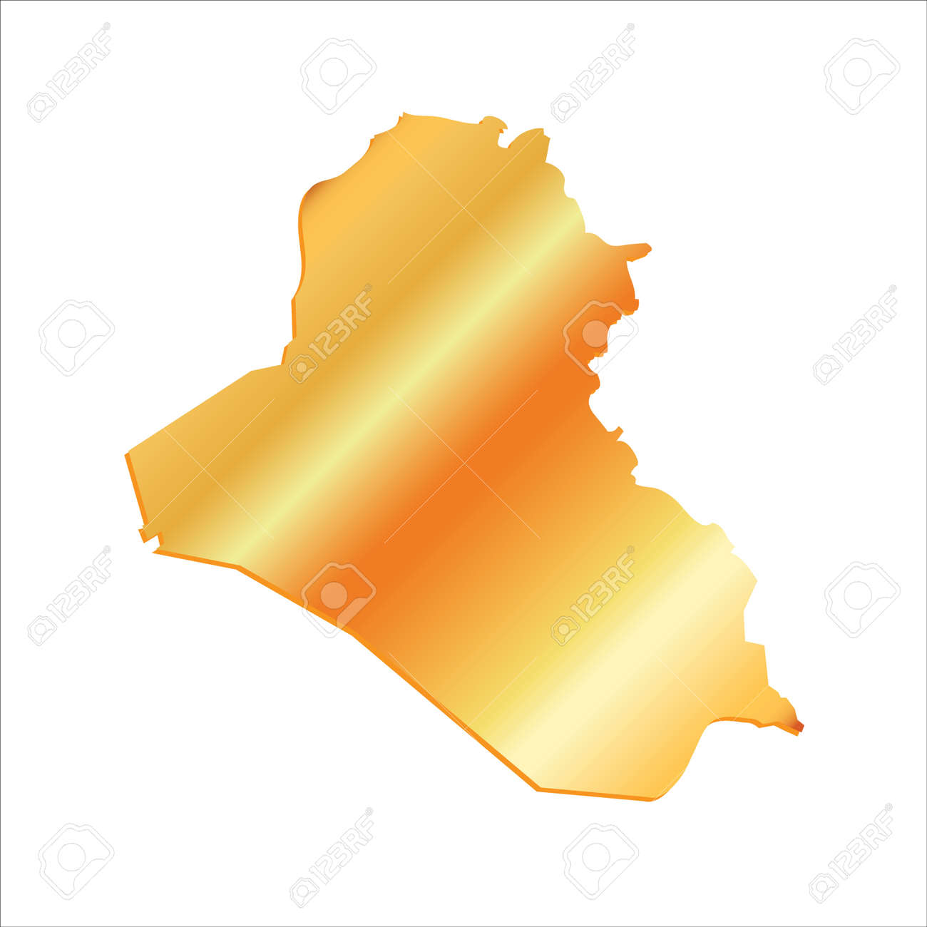 D Iraq Gold Outline Map With Shadow Royalty Free Cliparts - Iraq map outline